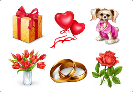 Free Gift icons - gift box, red heart balloons, puppy, wedding rings, bunch of tulips, rose, cake