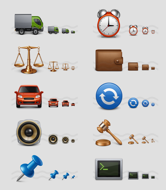 icons - truck, alarm, balance, purse, car, update reload, speaker, gavel, pin, console