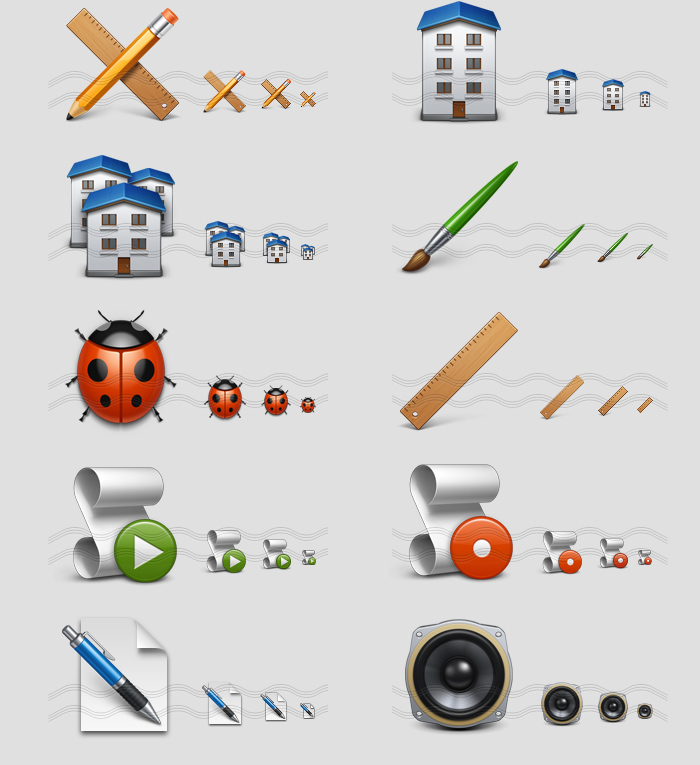 icons - pencil ruler, domestic house, buildings, brush, ladybird, ruler, script play, script stop, pen write, dynamics loudspeaker