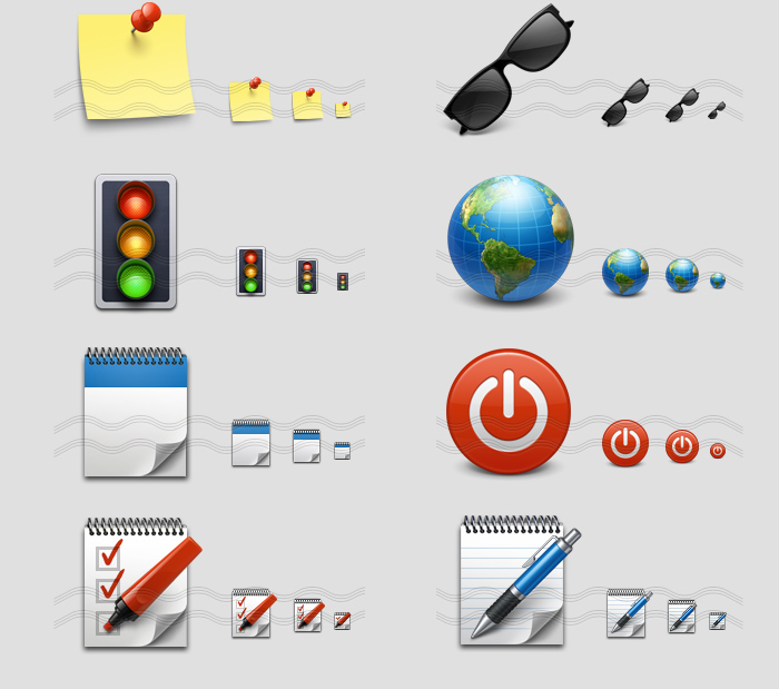 icons - sticker, sun glasses, signal traffic light, earth meridian, memo book, record play, note mark, pen notebook